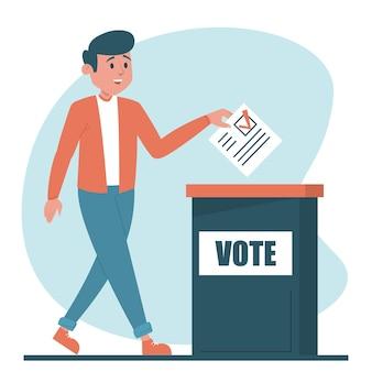大統領のイラストに投票する男