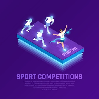 Man in vr glasses and virtual athletes during sport running competition isometric composition purple