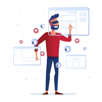 A man in vr headset analyzing virtual data