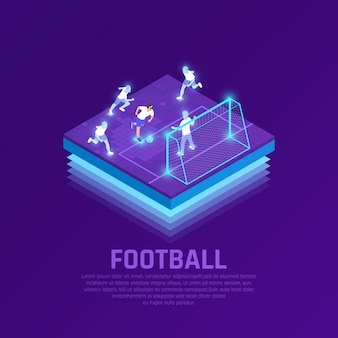 Man in vr headset and virtual players during soccer game isometric composition on purple