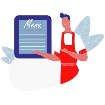 Man waiter wearing uniform presenting menu board