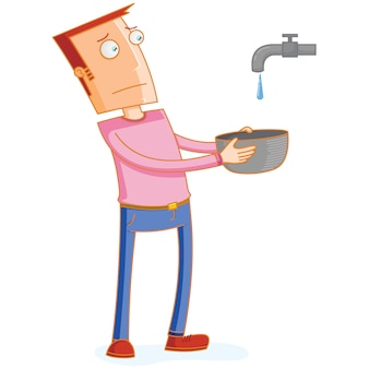 Man waiting for a water drop from a faucet