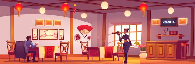 Man and waitress in chinese or japanese restaurant.