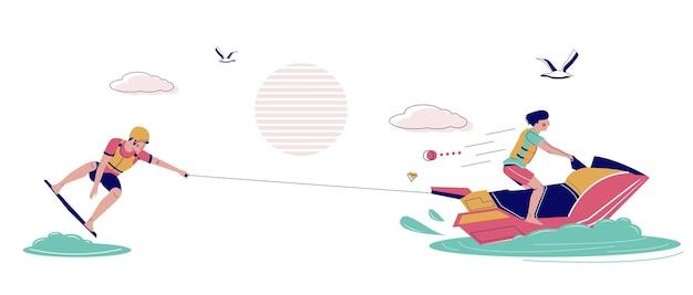 Человек вейкбордер буксируется на вейкборде на водном скутере, плоские векторные иллюстрации. летний пляжный отдых, экстремальный водный вейкборд.