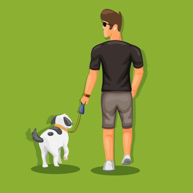 Человек гуляет с собакой в открытом парке с концепцией домашних животных в векторе иллюстрации шаржа