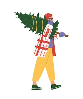 Man walking carrying christmas tree. flat vector illustration. isolated on white.