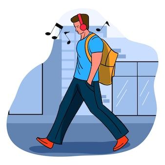 ヘッドフォンのイラストで音楽を楽しんで歩く男