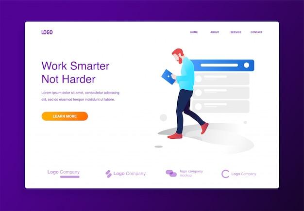 Man walking holding tablet illustration concept for website or landing page