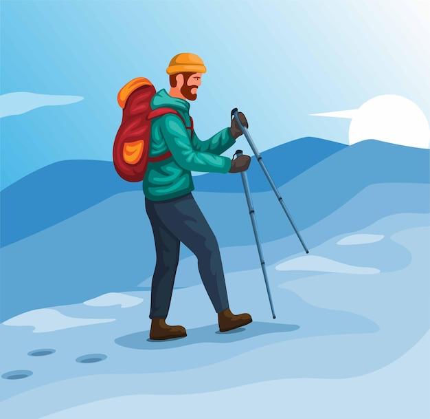 Man walking on mountain ice hiking winter sport activity illustration vector