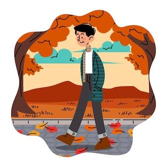 Man walking on a sidewalk full of fallen leaves vector illustration