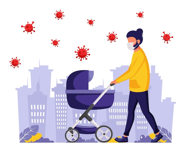 Man walking with baby carriage during pandemic. man in face mask. outdoor activities during pandemic.  in flat style.
