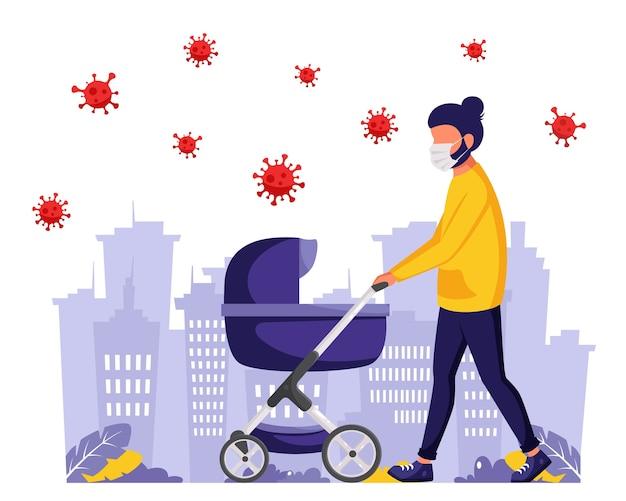 Человек идет с детской коляской во время пандемии. человек в маске. активный отдых на свежем воздухе во время пандемии. в плоском стиле.