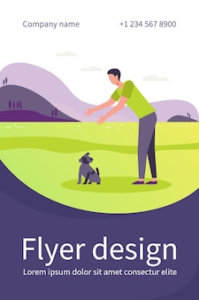 Man walking with dog outdoors. guy reaching hands for picking puppy from ground flat flyer template