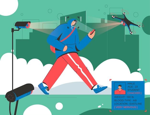 남자는 도시 거리 감시 카메라와 드론 스캔 식별을 따라 산책