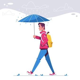 男は雨の日に歩く