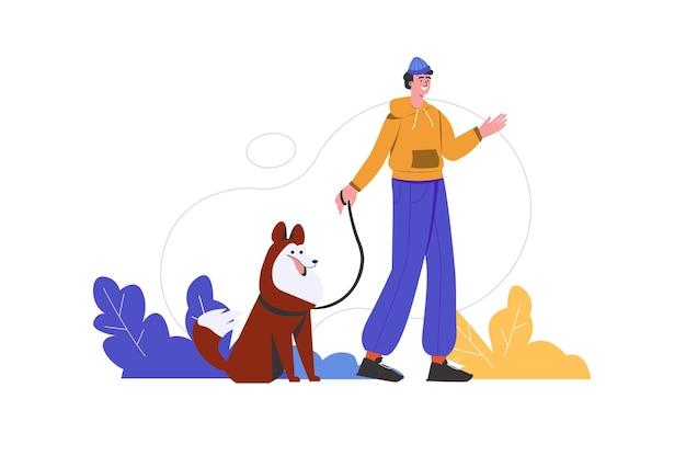 男は都市公園で彼の犬と一緒に歩きます。飼い主は仲間のペットと積極的に時間を過ごしており、人々のシーンは孤立しています。家畜の世話、友情の概念。フラットミニマルデザインのベクトル図
