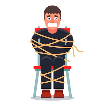 The man was kidnapped and tied up in a chair. ransom demand. character  illustration.