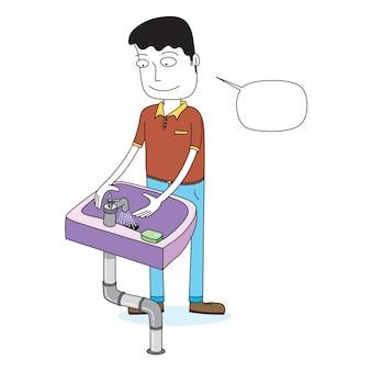 Мужчина моет руки у умывальника