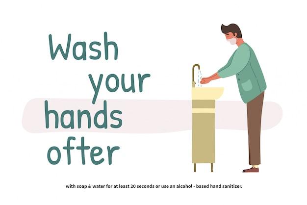 Человек моет руки. перспектива молодой мальчик, стоя у умывальника. чистые руки. ежедневная личная гигиена. covid-19 профилактика. иллюстрация в плоском мультяшном стиле.