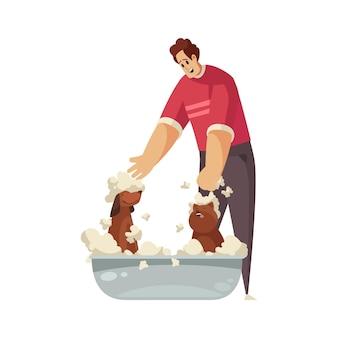 Man washing two happy dogs in basin cartoon