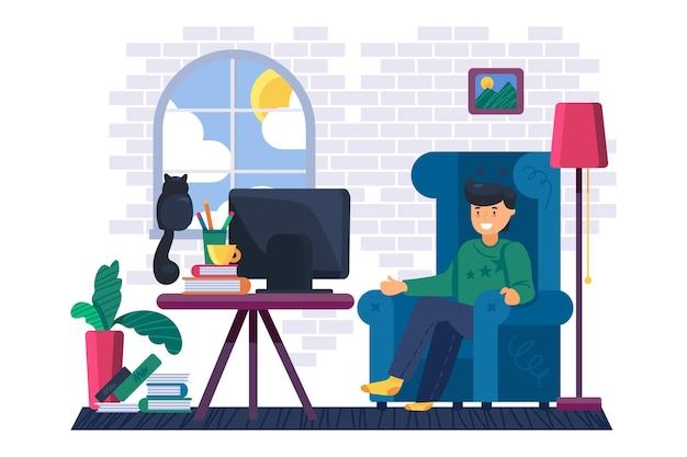 居間でテレビで映画を見ている男