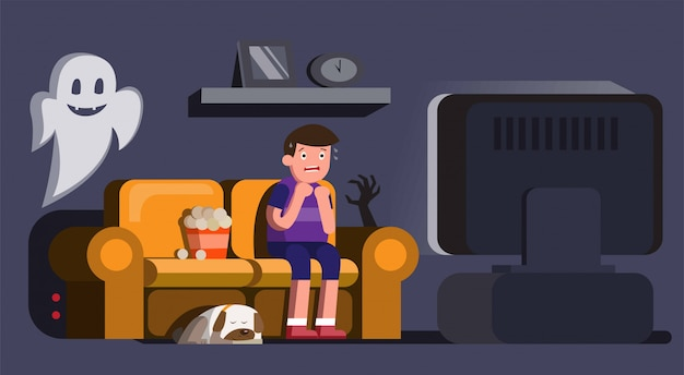 Man watching horror movie scary with sleeping dog and ghost in night illustration