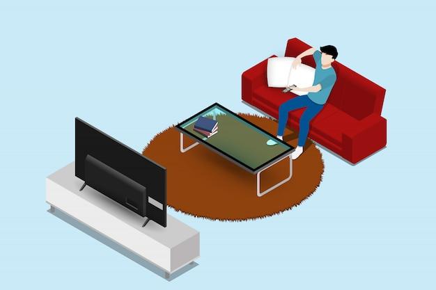 Man watching large screen led tv on sofa.