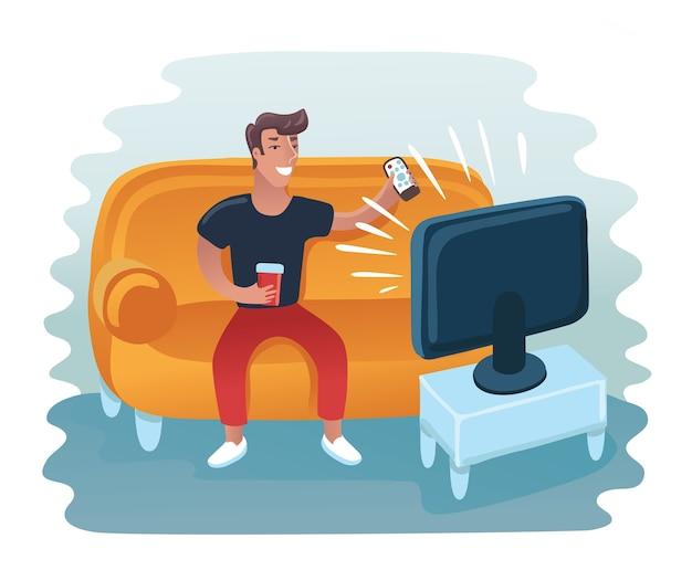 肘掛け椅子でテレビを見ている男。