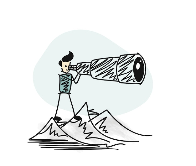 Man watching through telescope top of mountain. hand drawn sketch vector illustration.