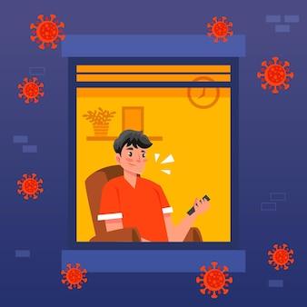 コロナウイルス夜間外出禁止令の後にテレビを見ている男