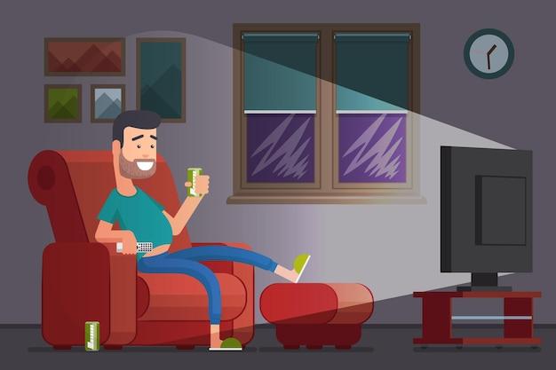 Человек смотрит телевизор и пьет пиво. ленивый бездельник в кресле смотрит телевизор. иллюстрация