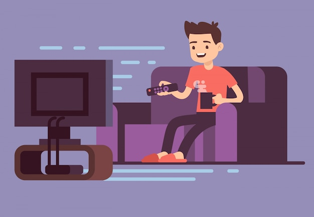 Man watching tv and drinking coffee on sofa in home room interior vector illustration