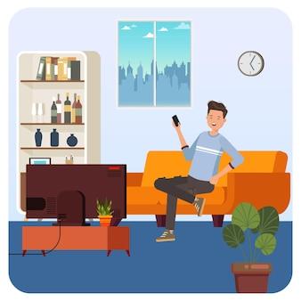 Man watching tv indoor illustration