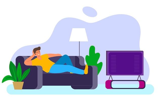 ソファのホームルームのインテリアでテレビを見ている男男はテレビ画面のある部屋で男性のソファで自宅でリラックス