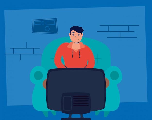 テレビを見ている男は家にいるキャンペーン