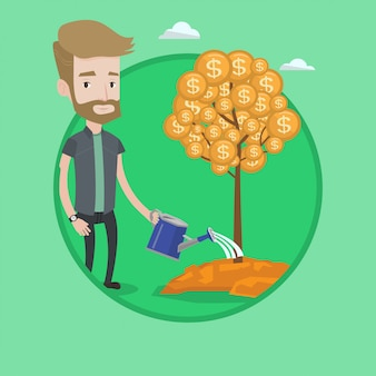 Man watering financial tree vector illustration.