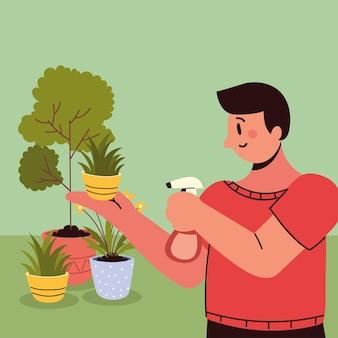 관엽식물에 물을 주는 남자