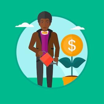 Man watering money flower vector illustration.