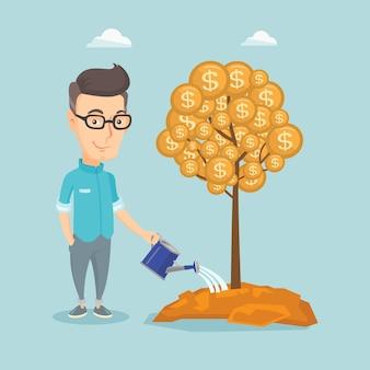 Man watering money tree illustration.
