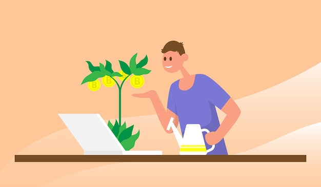 Man watering money tree with bitcoins investment business cryptocurrency mining farm virtual money