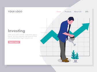 Man Watering Plant investing Illustration for landing page