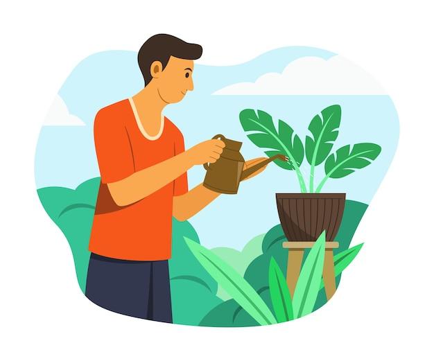 정원에서 식물에 물을 주는 남자