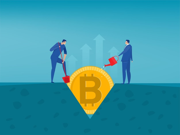 Man watering tree with bitcoin symbols. cryptocurrency   illustration in flat style.
