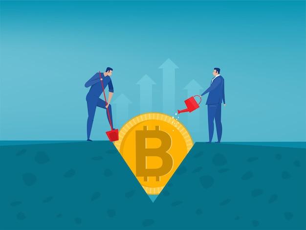 Bitcoin 기호로 나무를 급수하는 남자. 플랫 스타일의 cryptocurrency 그림입니다.