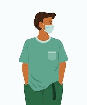 男性は健康を保護するために医療用マスクを着用します。