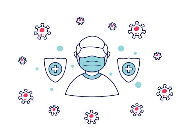 Человек носит лицевую маску в качестве защиты от ковидной 19 короны вируса пандемии безопасности предотвращения защиты борьбы с вирусом иллюстрации
