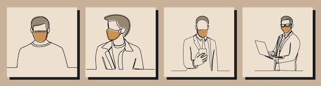 Man wear mask oneline continuous line art premium vector