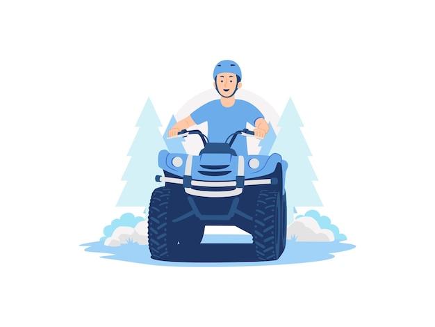 Man wear safety helmet ride quad bike all terrain vehicle atv adventure concept illustration