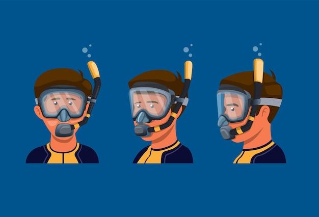 男性はスキューバダイビングのシュノーケリングのためにシュノーケルマスクを着用します