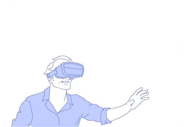 Man wear vr modern 3d glasses playing virtual reality games